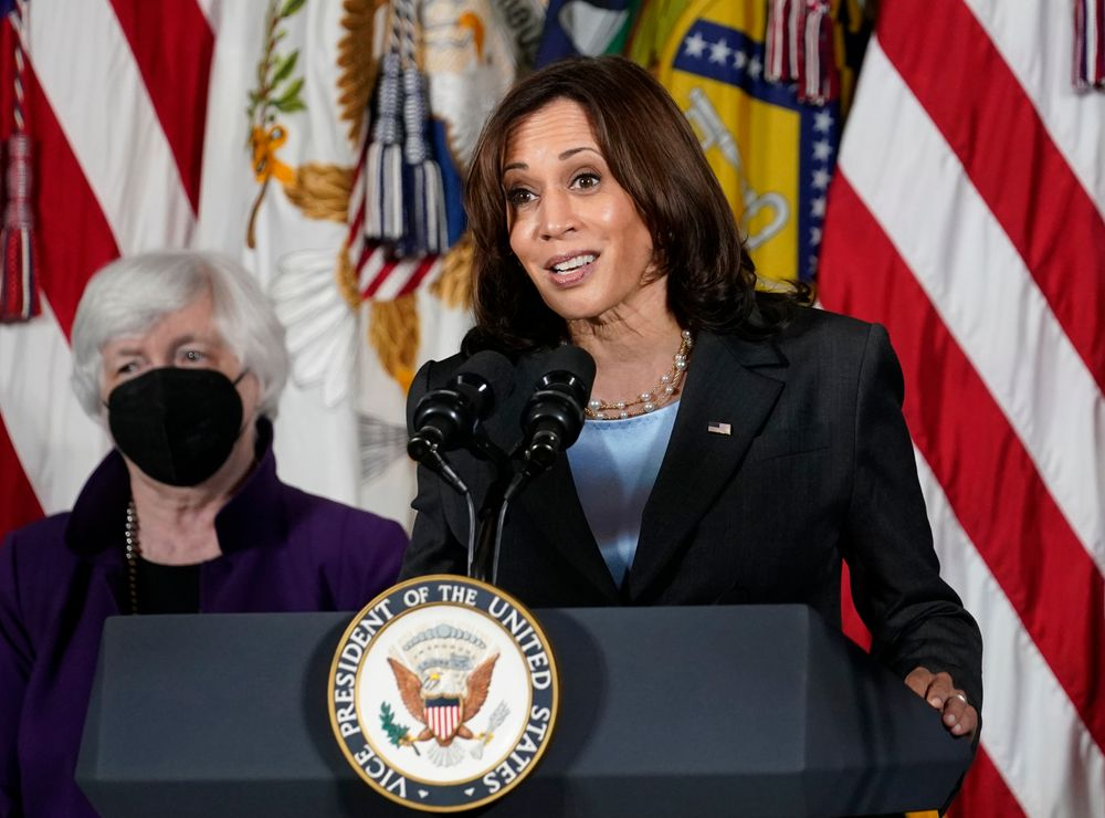 FILE - Vice President Kamala Harris, right, speaks as Treasury Secretary Janet Yellen listens during an event at the Treasury Department in Washington on Sept. 15, 2021. Harris will appear on the daytime talk series