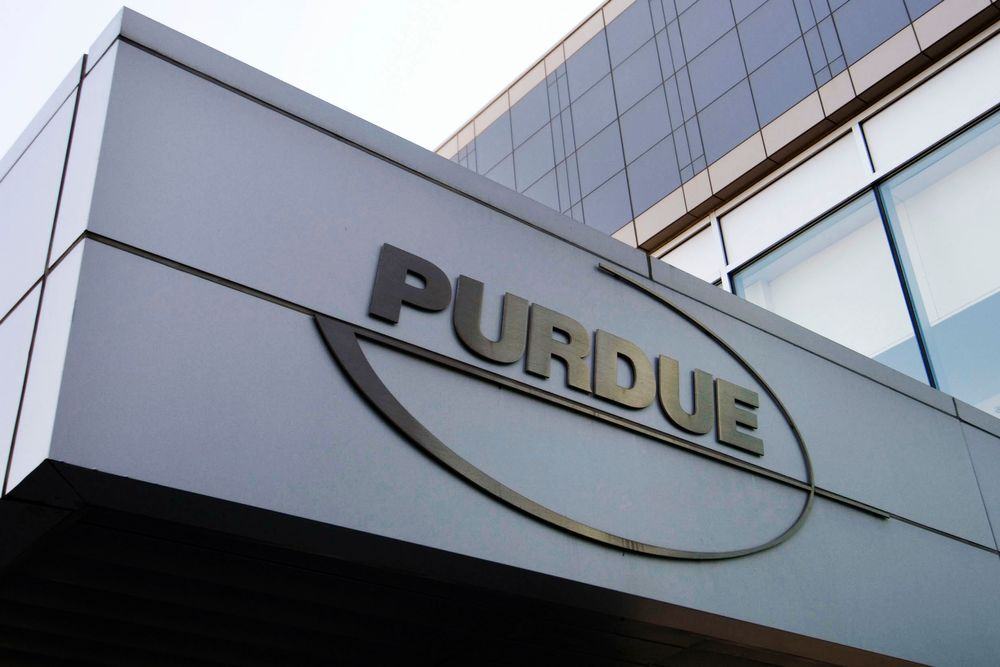 FILE - This Tuesday, May 8, 2007, file photo shows the logo for pharmaceutical giant Purdue Pharma at its offices in Stamford, Conn. A lawyer for company, which is facing lawsuits over its marketing of the powerful painkiller OxyContin in driving the opioid epidemic, says states would get more money from settling rather than continuing their lawsuits against the Purdue Pharma and the Sackler family who own it. (AP Photo/Douglas Healey, File)
