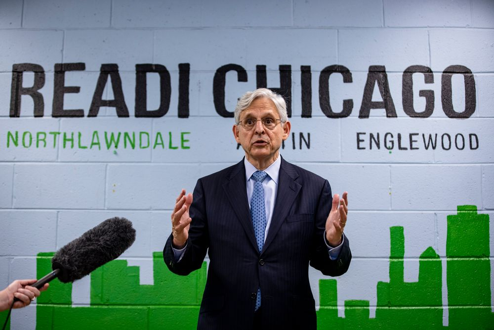 FILE - In this July 22, 2021 file photo, Attorney General Merrick Garland takes questions from reporters before attending a listening session on reducing gun violence at St. Agatha Catholic Church in Chicago. Garland traveled to Chicago to announce an initiative to crack down on violent crime and gun trafficking. The Justice Department's 93 U.S. attorneys are likely to be central to that effort. (Samuel Corum/Pool via AP)