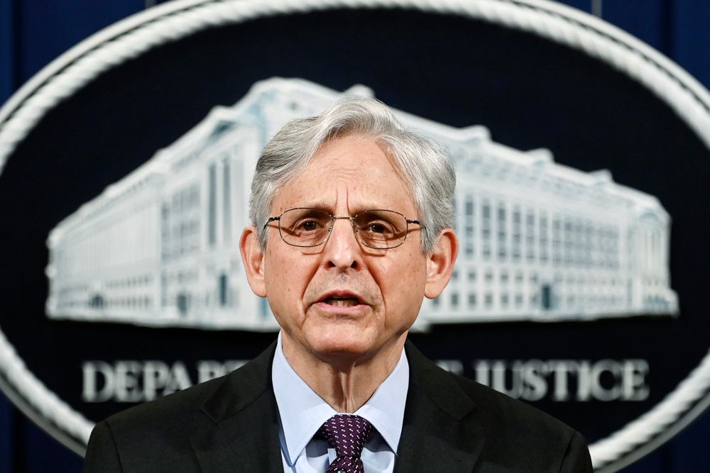 FILE - In this April 26, 2021 file photo, Attorney General Merrick Garland speaks at the Department of Justice in Washington.  President Joe Biden is nominating eight new leaders for U.S. attorney positions across the country, including in the office overseeing the prosecutions of hundreds of defendants charged in the Jan. 6 Capitol insurrection. The nominees announced Monday by the White House come as the Justice Department continues to round out its leadership team under Attorney General Merrick Garland, who traveled to Chicago last week to announce an initiative to crack down on violent crime and gun trafficking. (Mandel Ngan/Pool via AP)