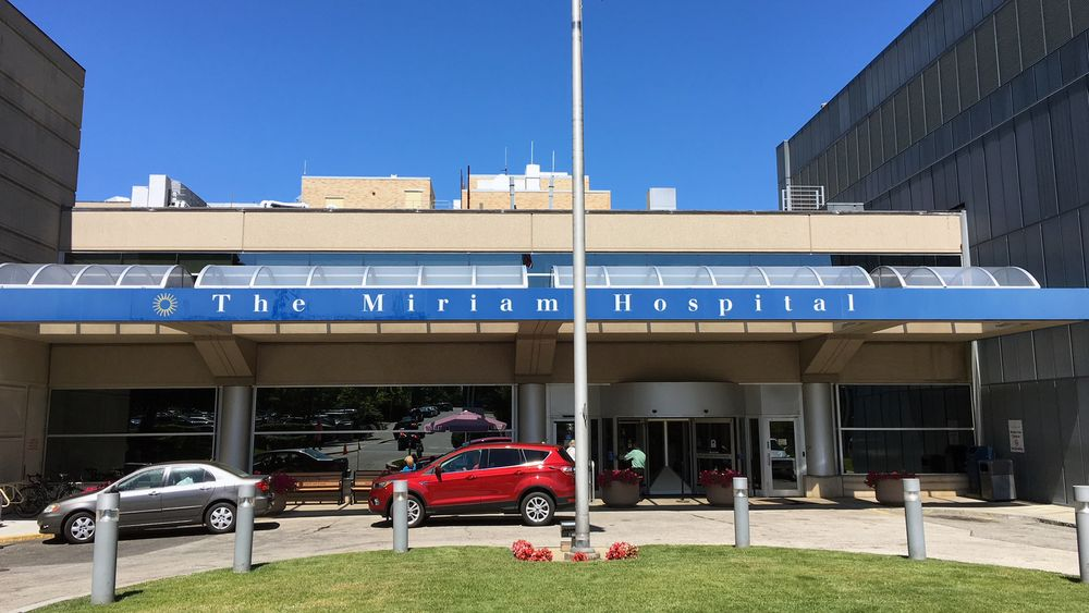 The front entrance to Miriam Hospital in Providence.