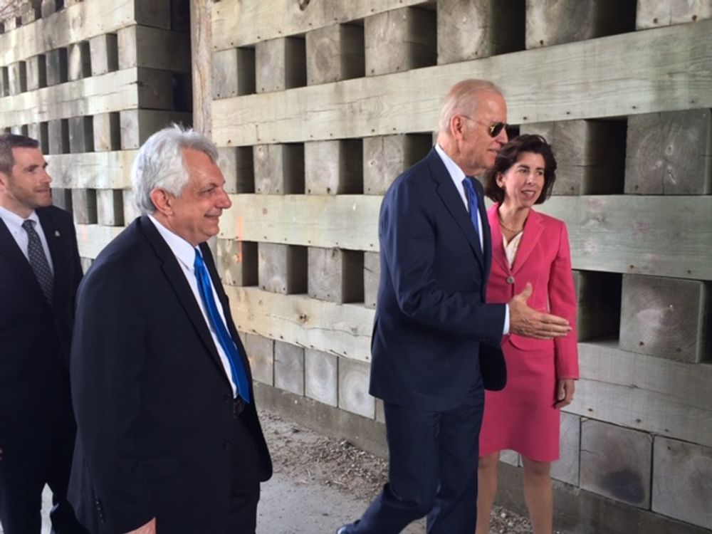 Biden and Raimondo touring East Providence in 2016.