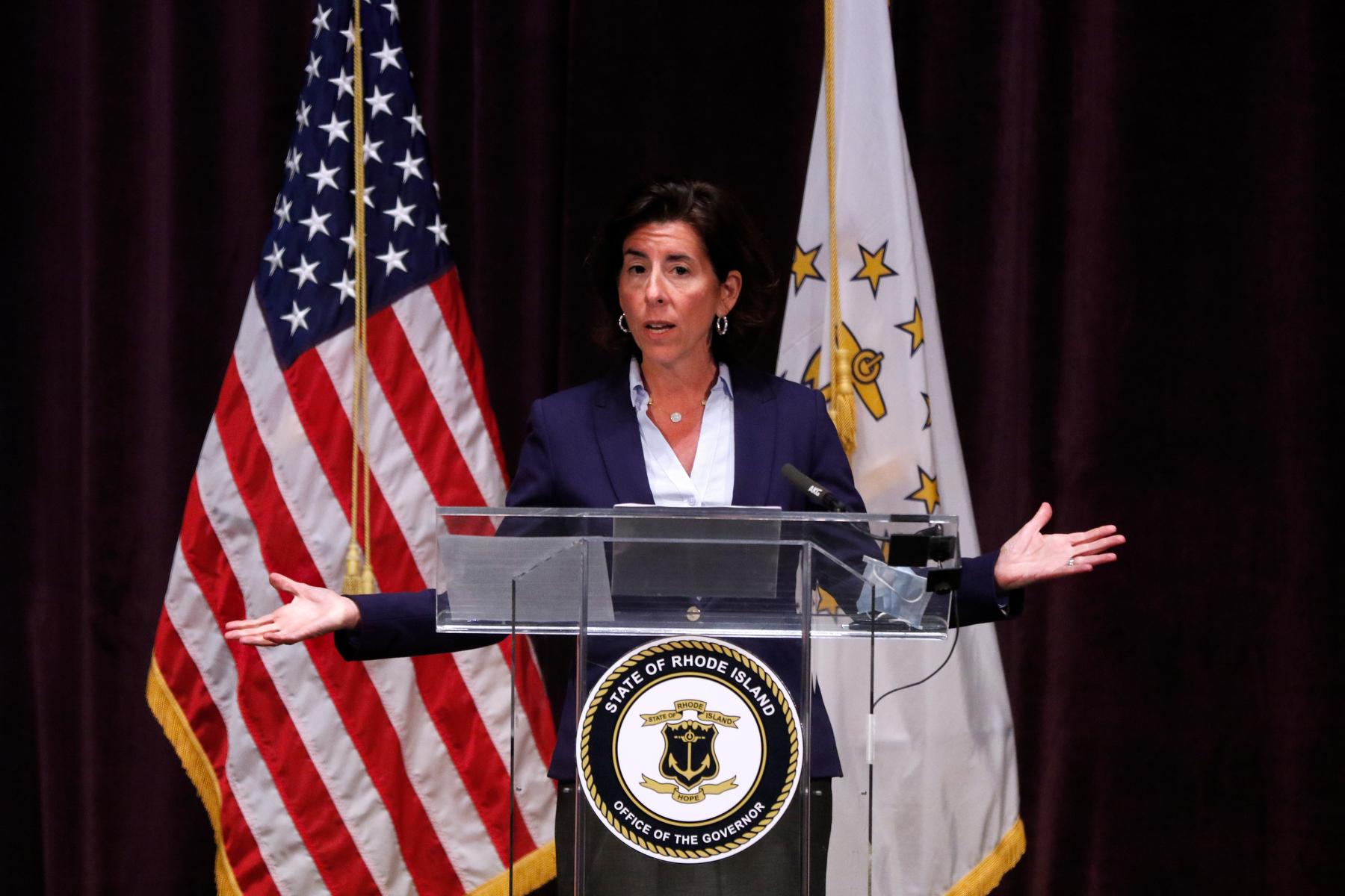 Governor Raimondo at press conference.