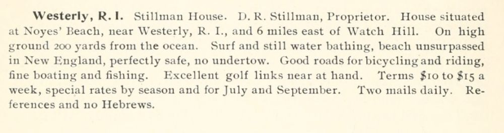Anannouncement for the Stillman House in Weekapaug in the 1900 Eastern Summer Resort Manual.