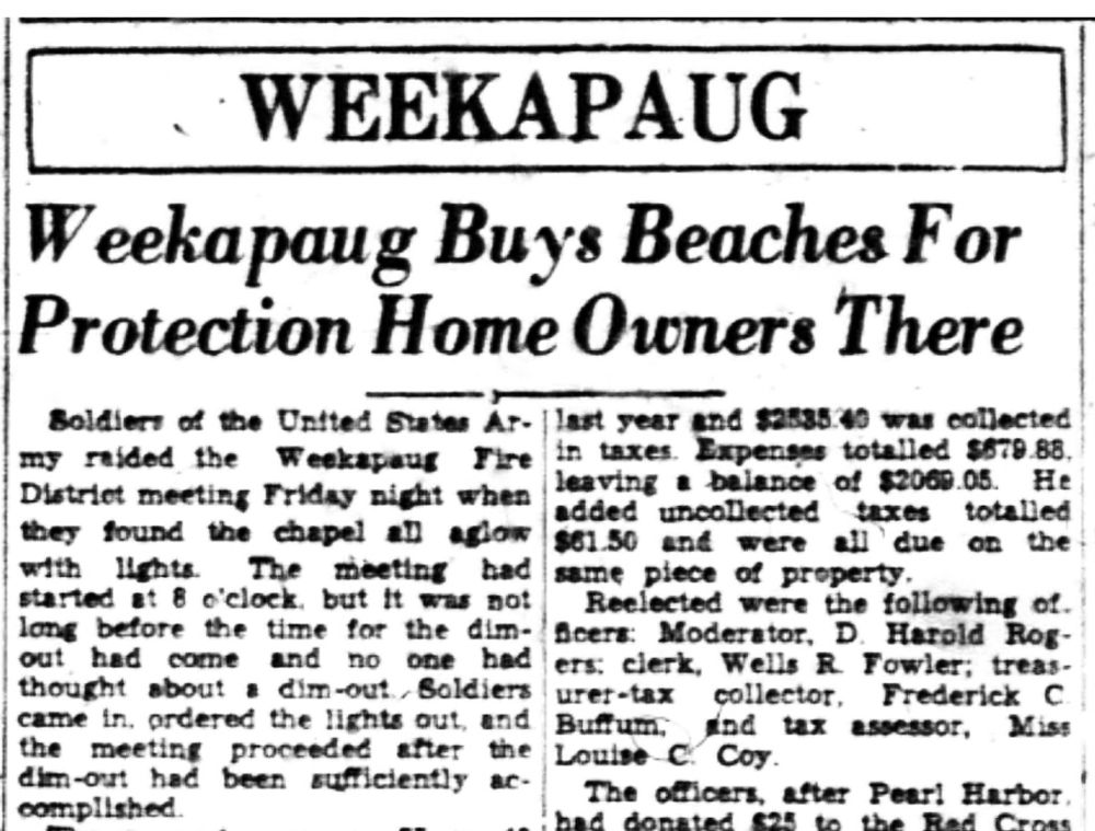 The headline in a July 1942 edition of The Westerly Sun is pictured here.