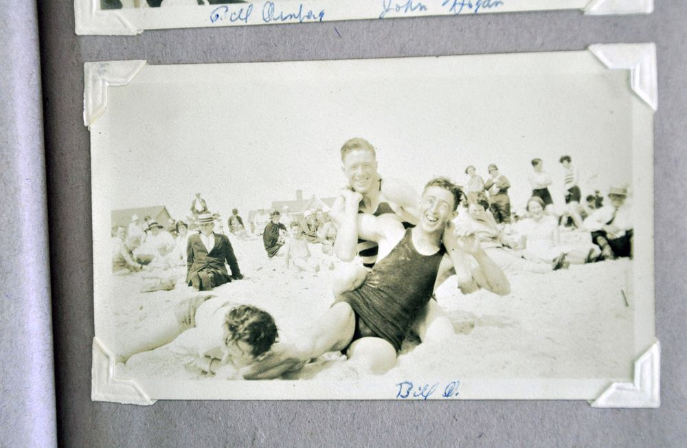 Barbara Coon's father, front, with friends at the beach.