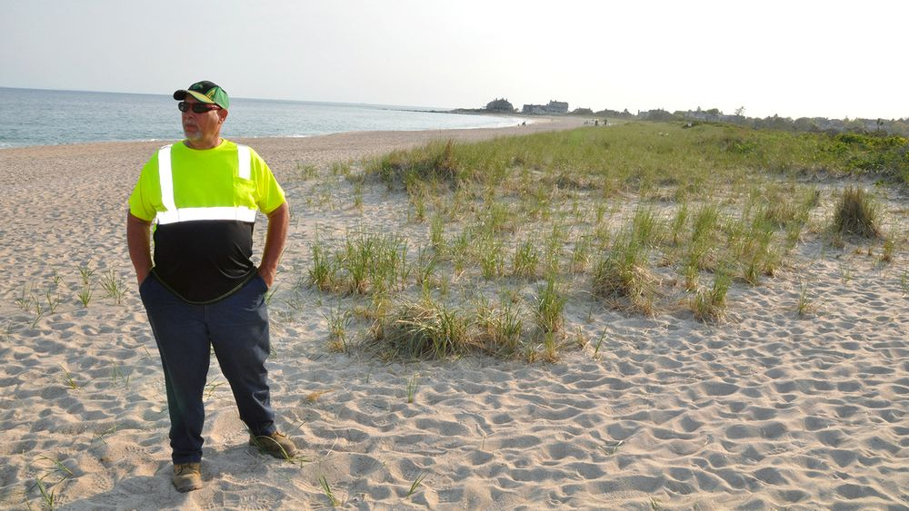 Dave Burke is pictured in May at the Quonochontaug Barrier Beach.