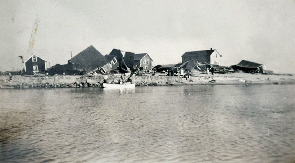 Damage from the Hurricane of 1938 is pictured here.