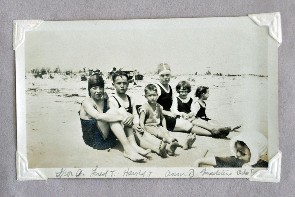 Children ready for a day at the beach.