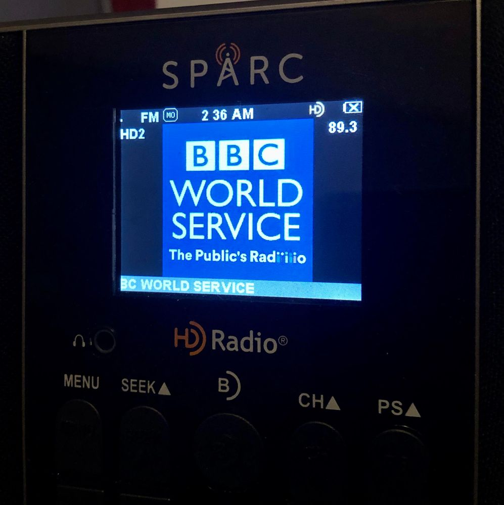 A radio tuned to the BBC on 89.3-HD2