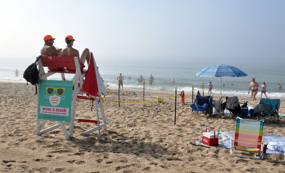Lifeguards at Misquamicut State Beach in Westerly on July 18, 2020.