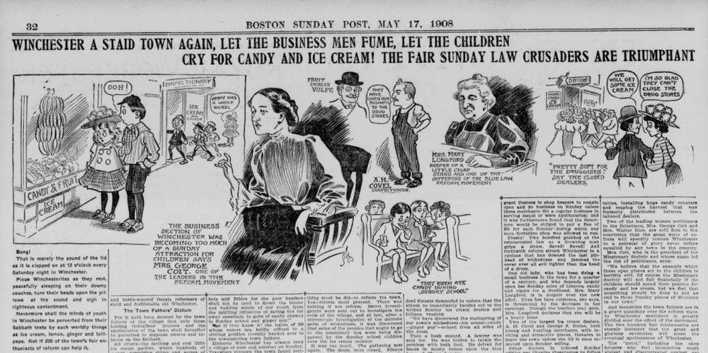 A page from the Boston Sunday Post on May 16, 1908, describes Winchester's fight over serving ice cream on Sunday.