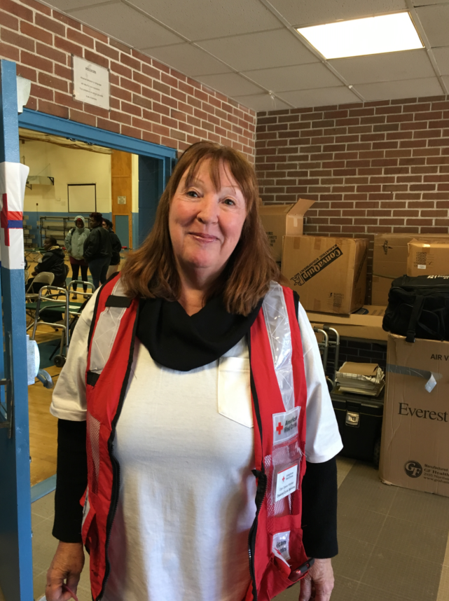 Ellyn Eaves-Hileman, a Red Cross volunteer at the Gaudet Middle School shelter in Middletown, January 22, 2019.