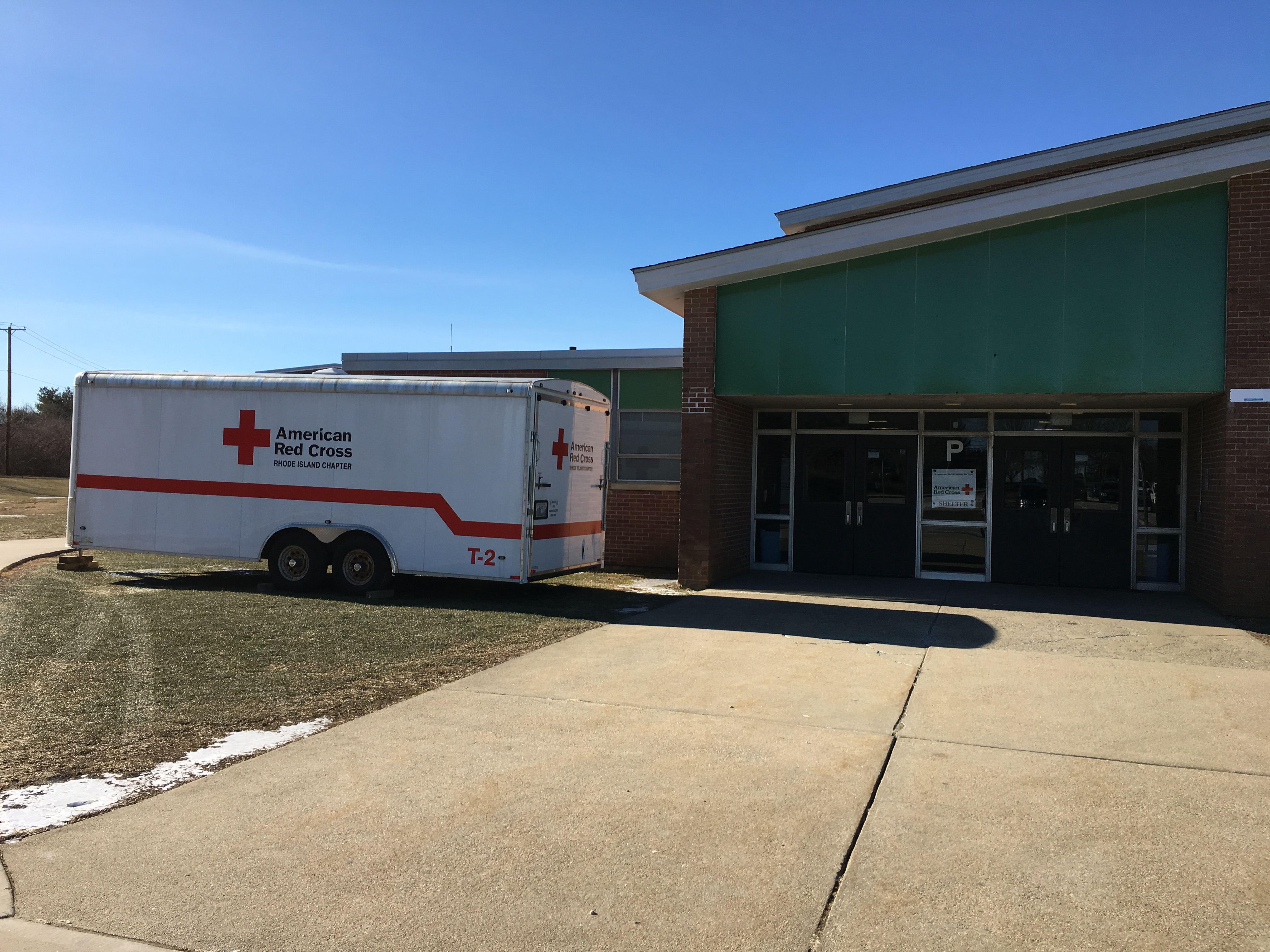 Outside the Red Cross shelter at Gaudet Middle School, January 22, 2019.