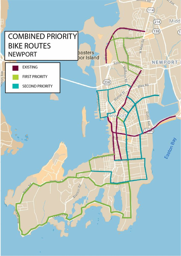 A previous version of the resolution included this map of existing, first priority, and second priority roads for bike lanes and shared lanes in Newport.