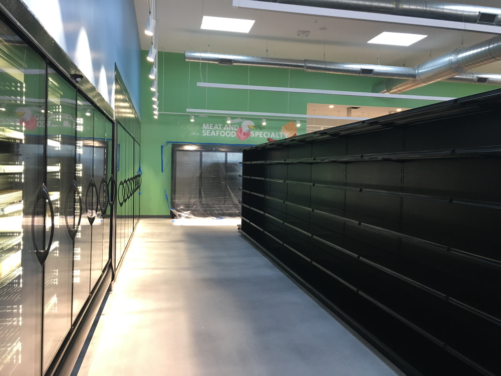 Shelves ready to be stocked inside the Urban Greens Co-op Market, February 5, 2019.