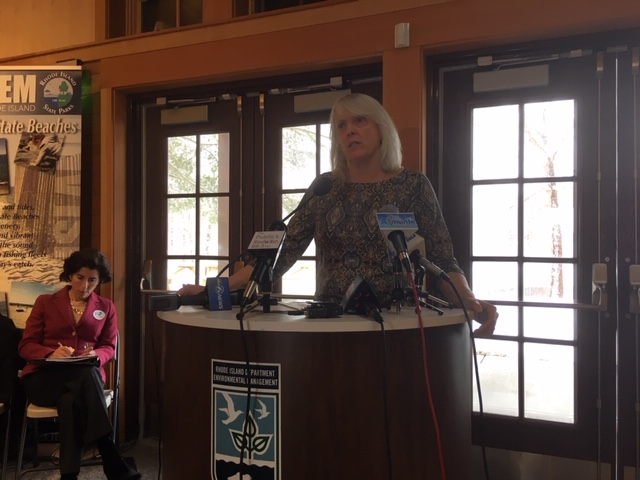 DEM Director Janet Coit during a news conference earlier this week.
