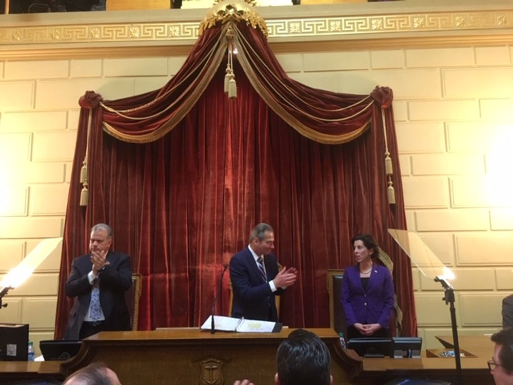 Gov. Raimondo on the House rostrum earlier this year.