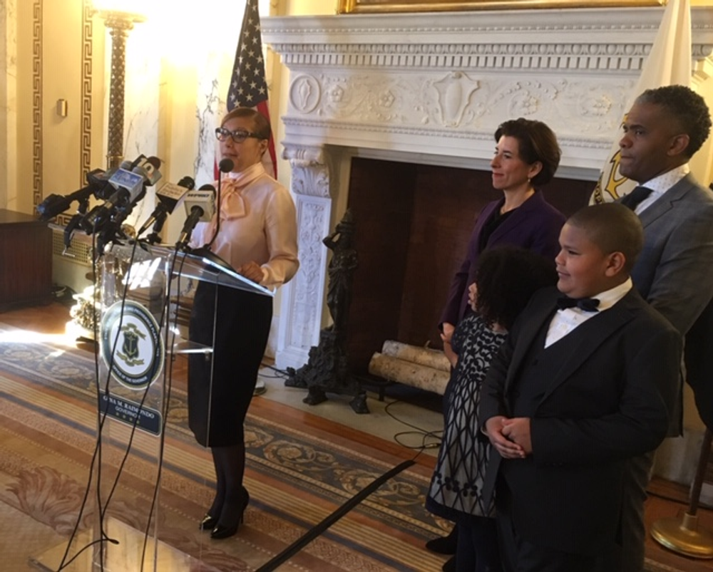 Infante-Green, joined by her family and Gov. Raimondo, said she's in Rhode Island for the long haul.