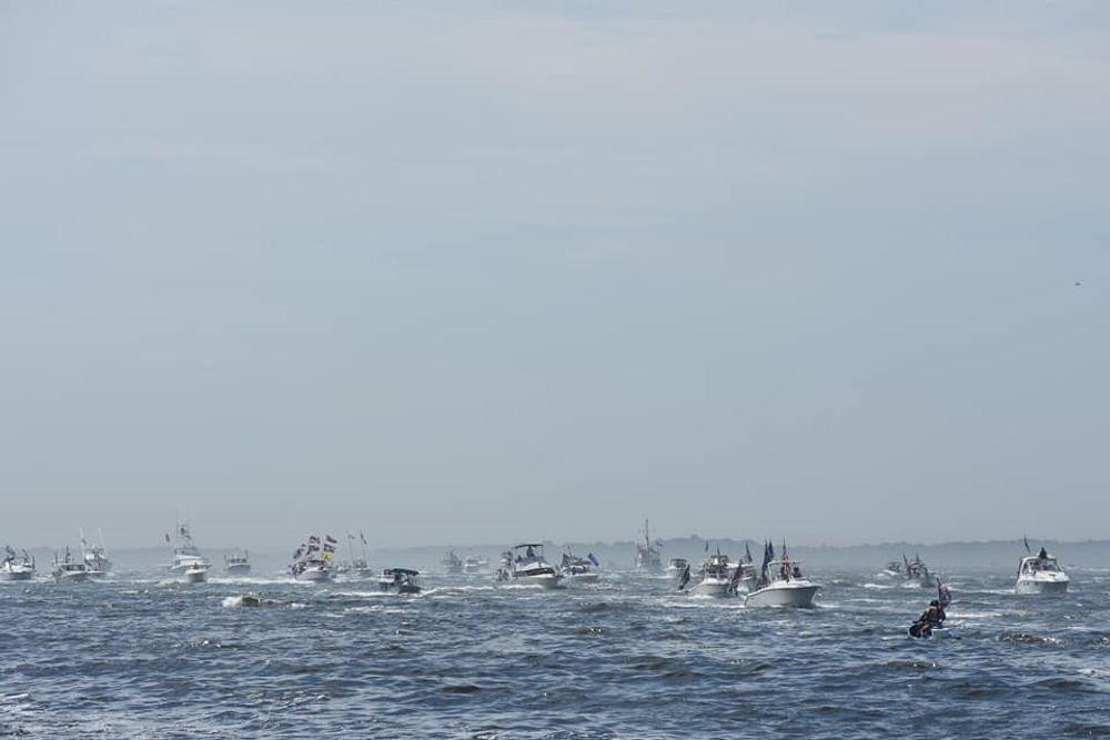 The flotilla consisted of vessels big and small, including a jet ski.
