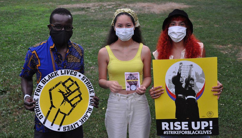 TASK organizers Mwangi Gitahi (left), Catrina Morin (center), and Ginger Mombelly on Aug. 2, 2020.