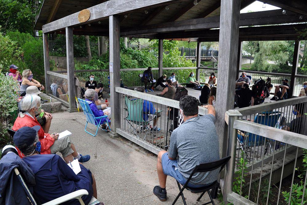 TASK members meet at the gazebo behind Wakefield Elementary School on Aug. 2, 2020.
