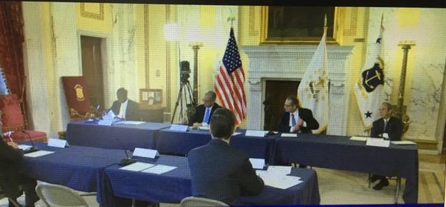 Treasurer Magaziner addresses the Disaster Emergency Funding Board.