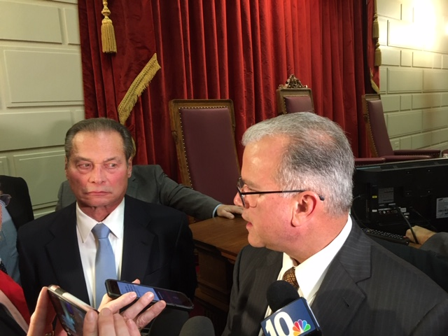 Senate President Dominick Ruggerio and House Speaker Nicholas Mattiello talking with reporters last month.