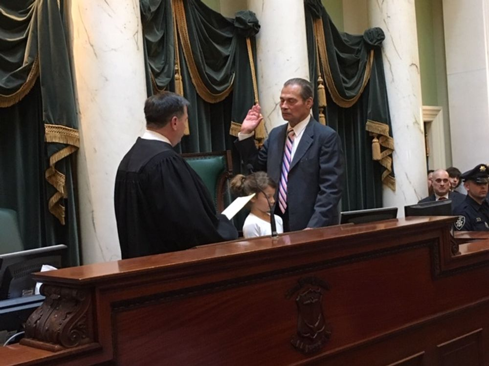 Senate President Dominick Ruggerio during his swearing-in in 2017.