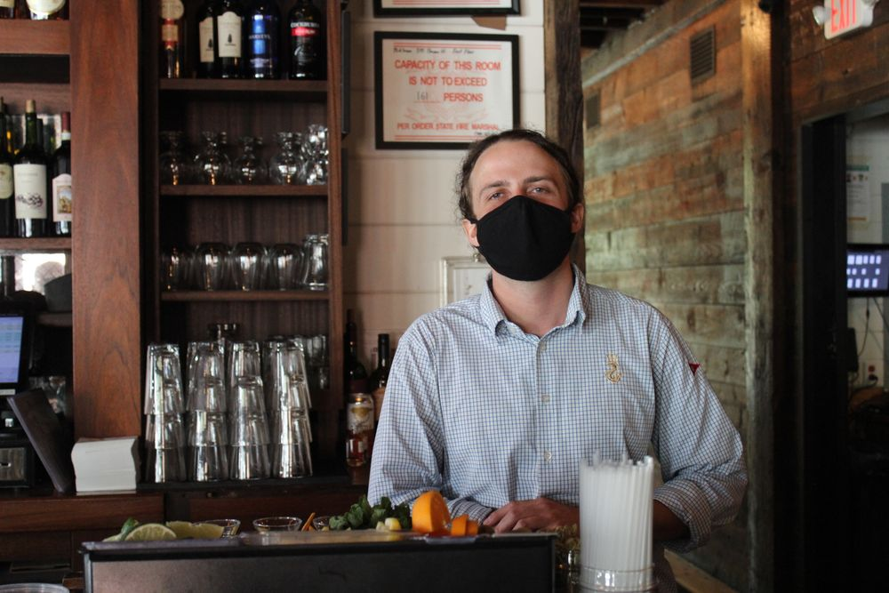 Camden Murphy returned to work as a bartender at Midtown Oyster Bar in May.
