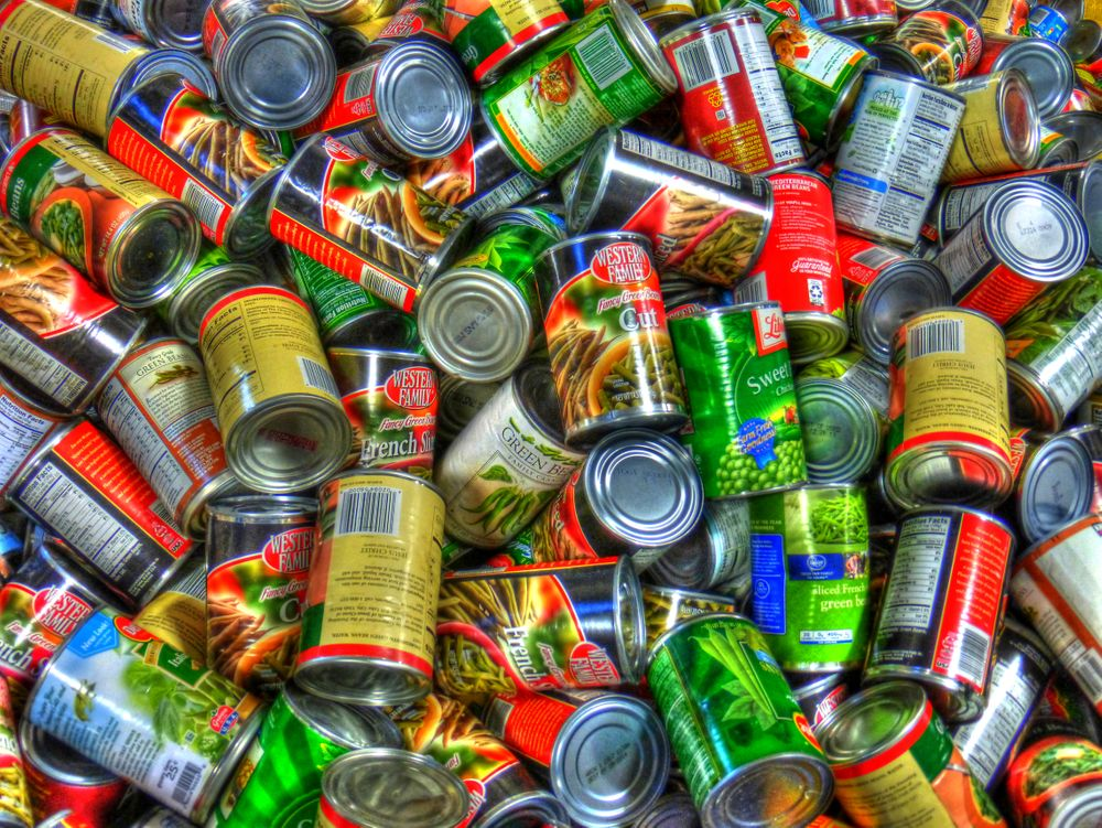 Canned foods are pictured here.