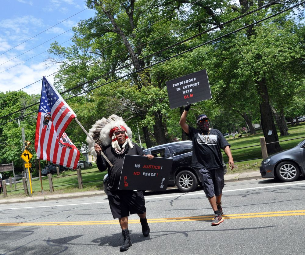 Protesters at the Tuesday march in South Kingstown.