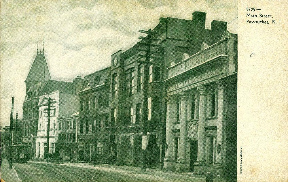 Pawtucket Main Street - Industrial Trust on right