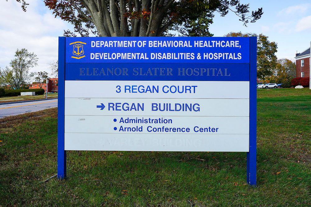 The sign outside Eleanor Slater Hospital in Cranston, R.I.