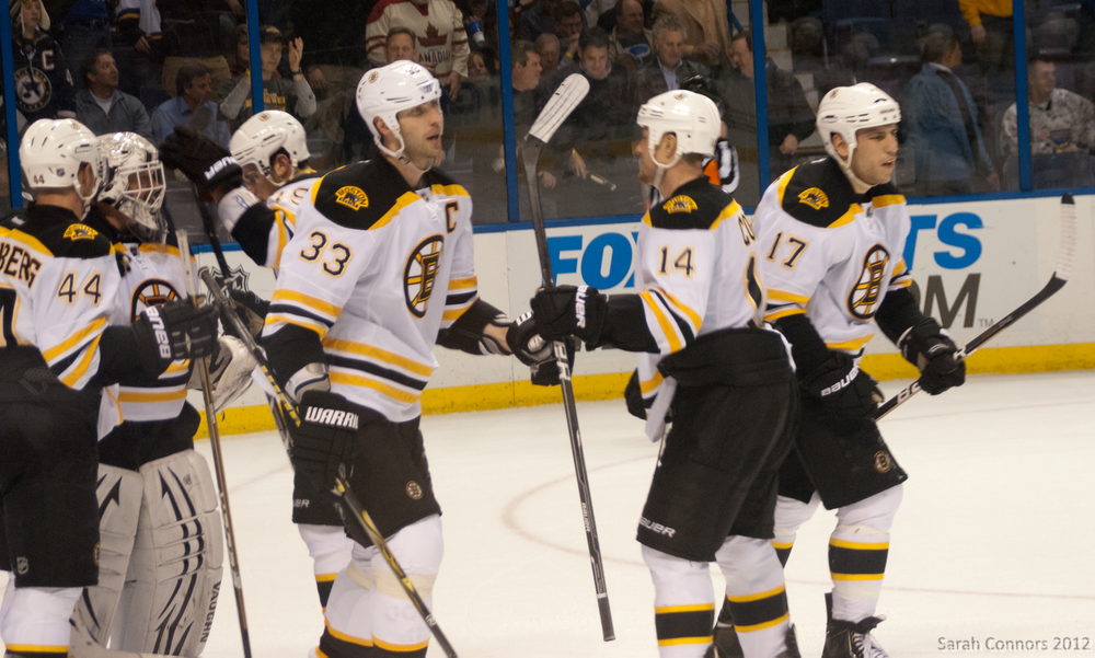The Boston Bruins playing the St. Louis Blues in 2012