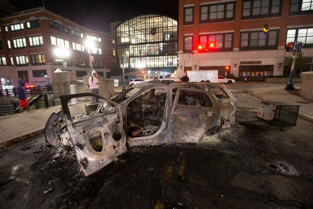 The Providence Police cruiser that was set on fire near the entrance to the Providence Place mall during a night of looting and destruction June 1.