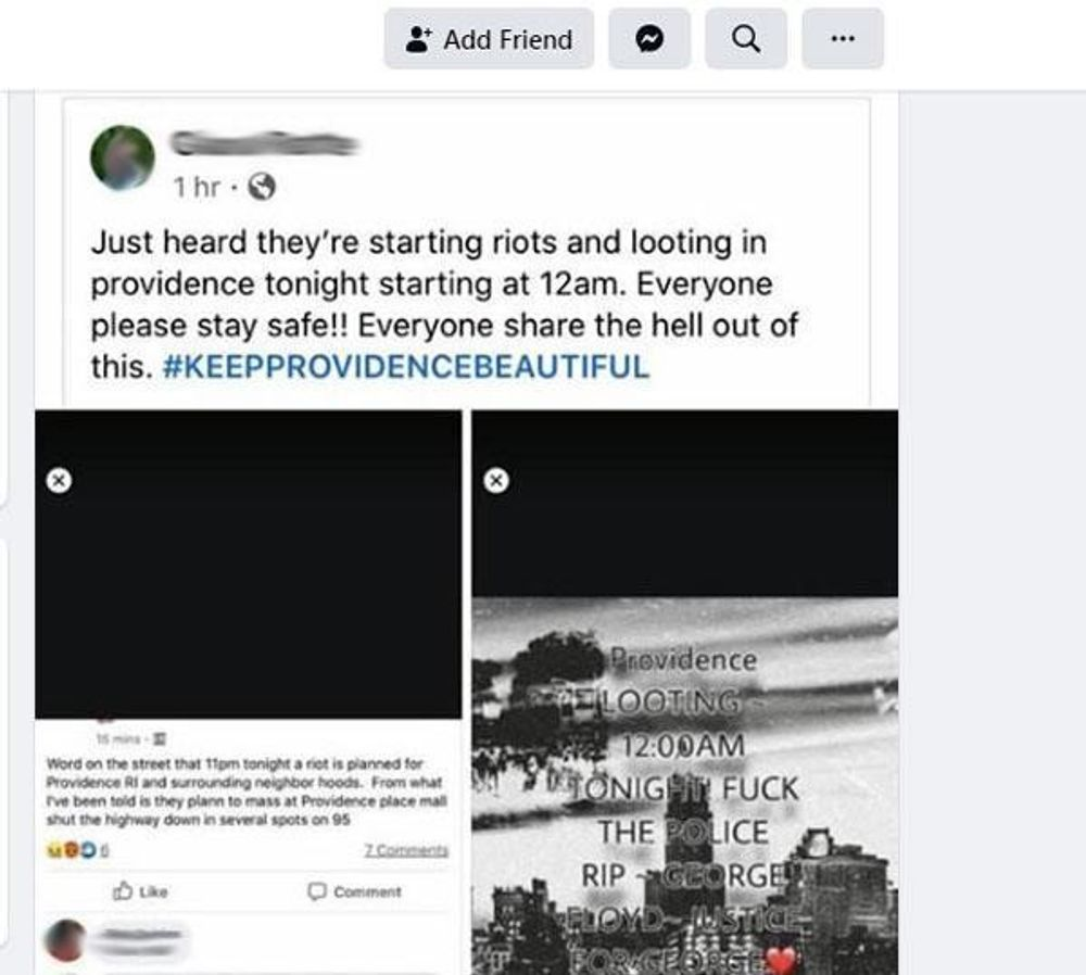 A Facebook posting showing a flier that talked about looting at the Providence Place mall June 1.