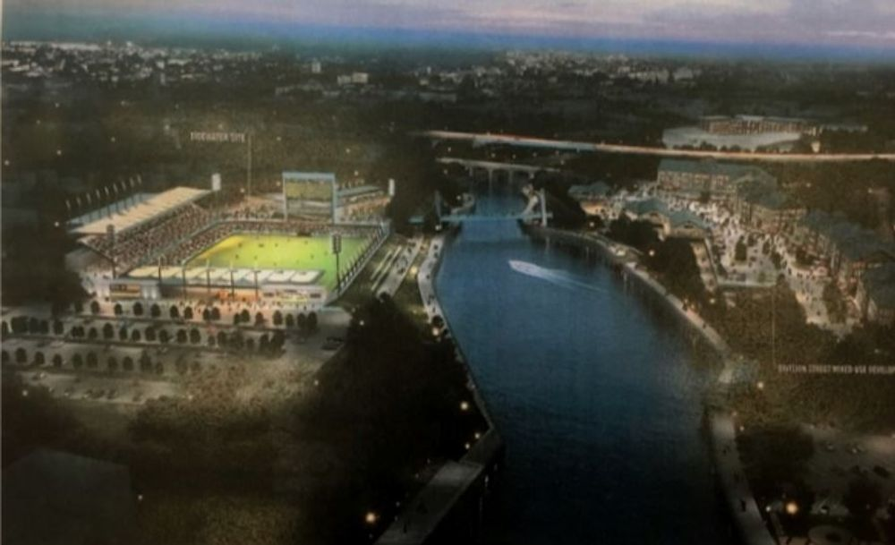 A rendering of the planned soccer arena