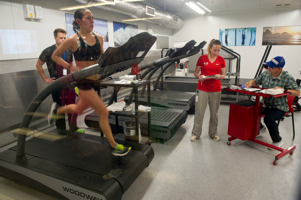 Linden runs inside the High-Altitude Training Center in preparation for the 2016 Rio Olympic games.