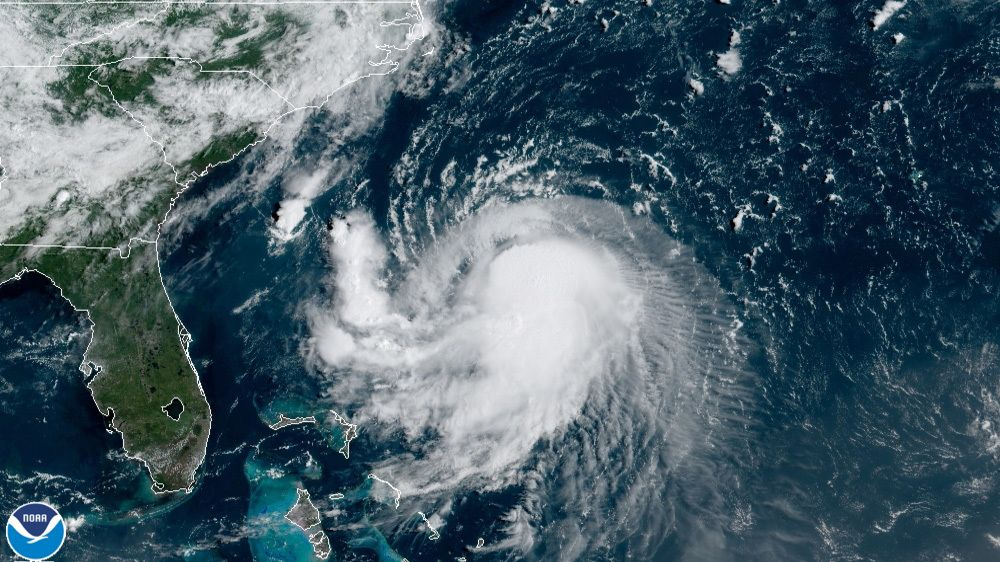 Tropical Storm Henri is pictured in this satellite image..