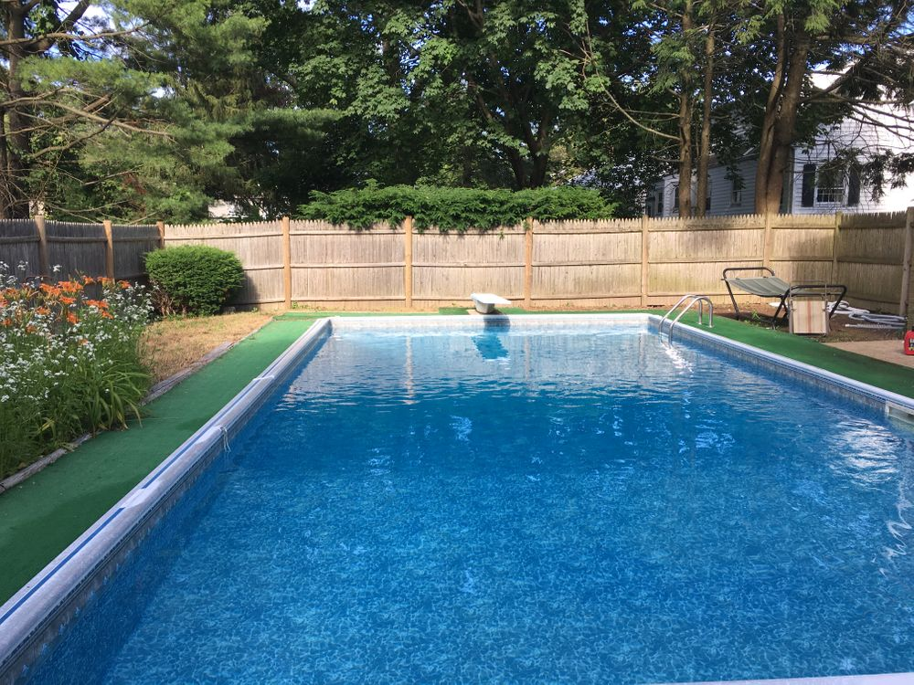 The pool in Mary's backyard.