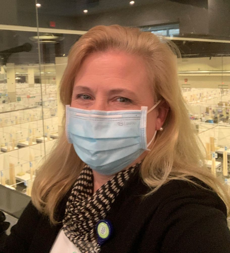 Cathy Duquette, at Lifespan's command center inside the Rhode Island Convention Center field hospital