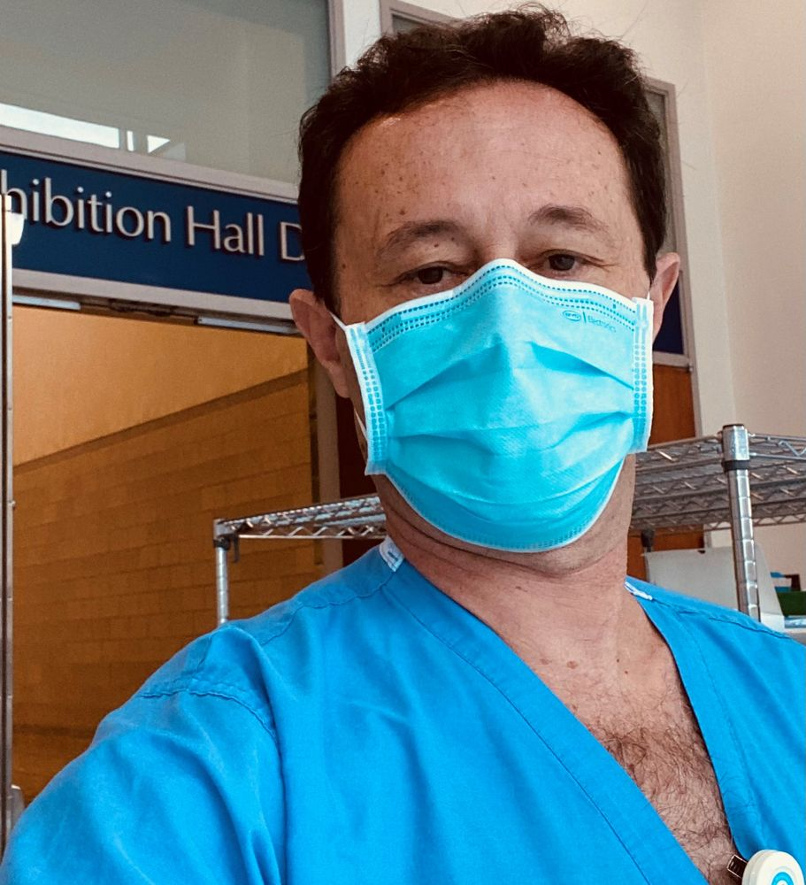 Dr. Selim Suner inside the Rhode Island Convention Center field hospital on Tuesday.