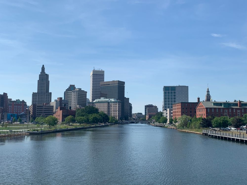 Downtown Providence from the pedestrian bridge.