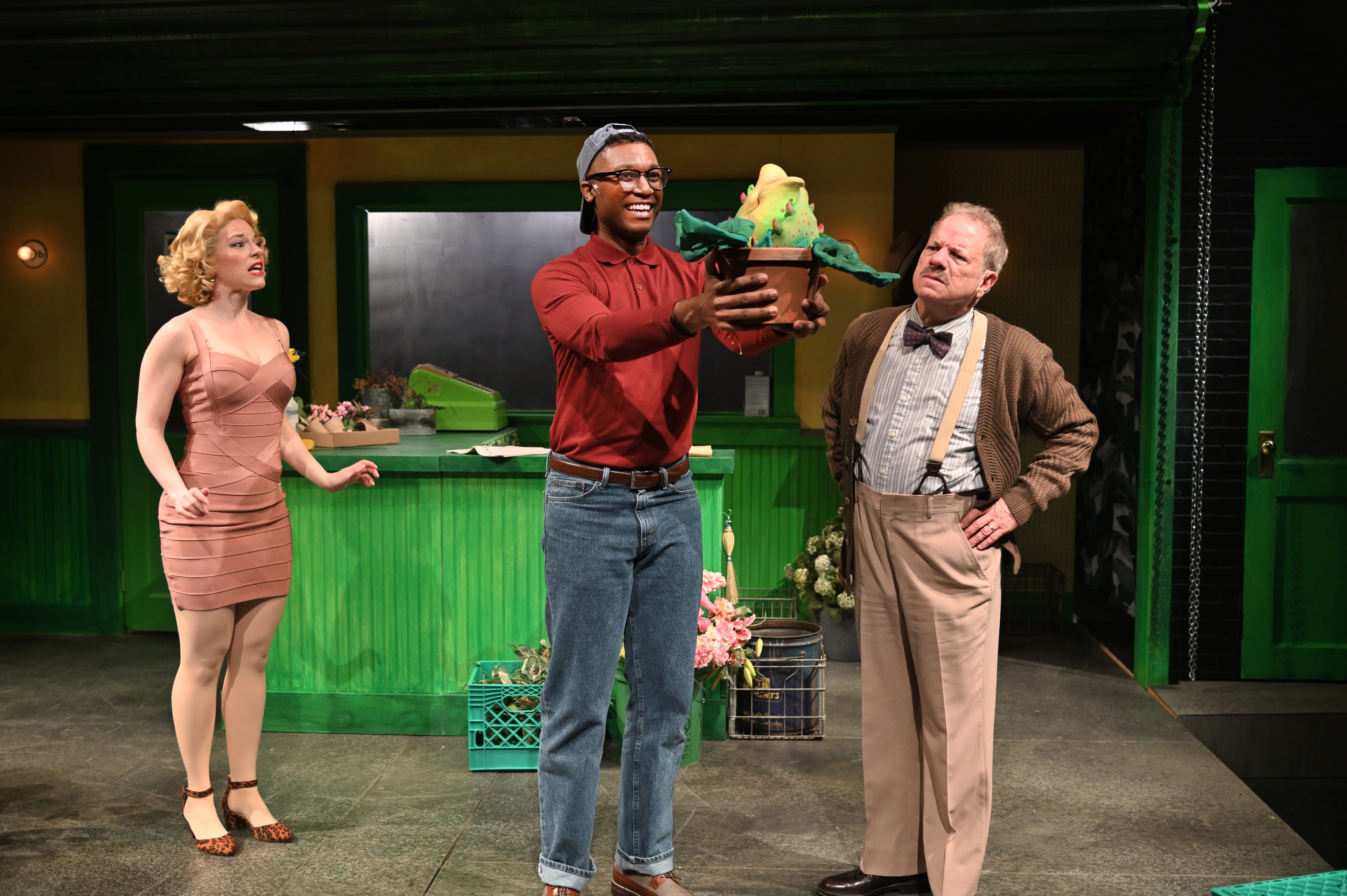 Rebecca Gibel (left) as Audrey, Jude Sandy as Seymour, and Stephen Berenson as Mr. Mushnik in Trinity Rep's production of