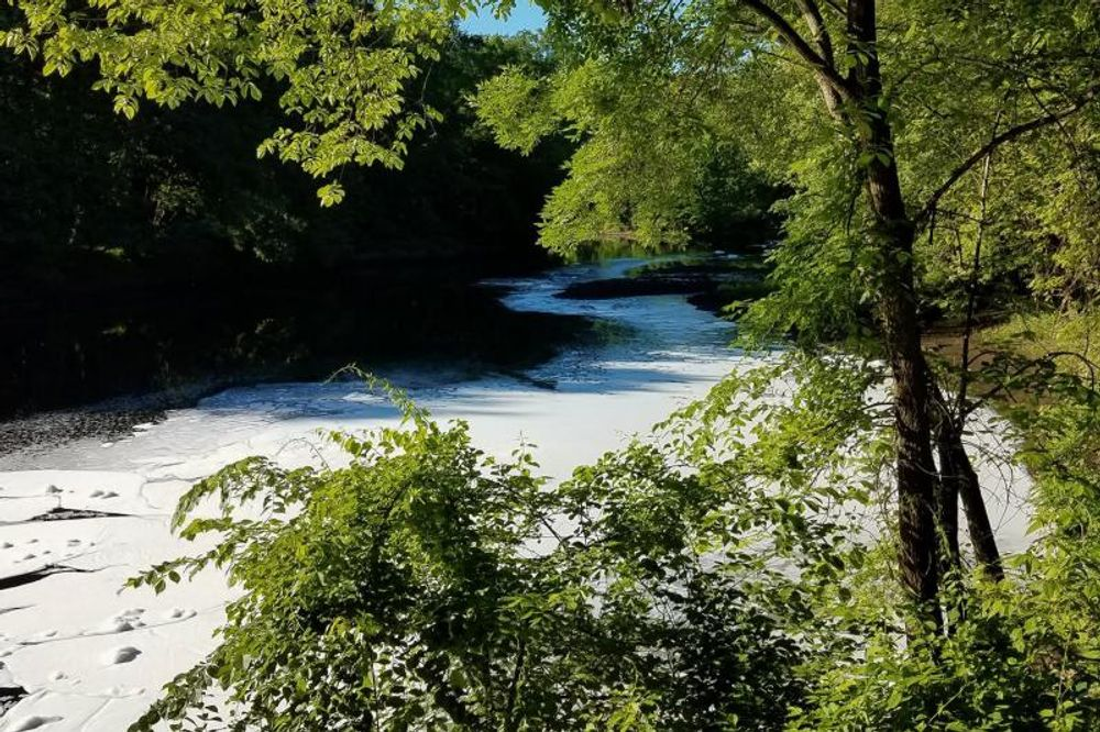 Firefighting foam that spilled into the Farmington River June 9, 2019.