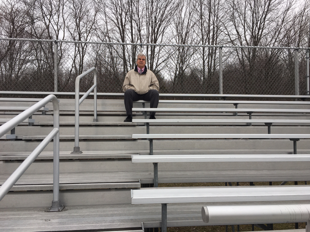 Mark Levesque, athletic trainer, in the stands at Tucker Field, Cumberland, where Rena Fleury collapsed.