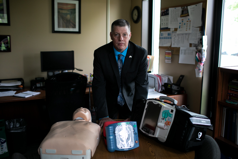 Jason Rhodes, EMS director for Rhode Island Department of Health, with emergency equipment.