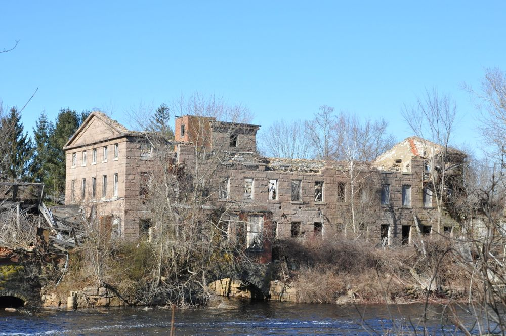 The crumbling Potter Hill Mill in Westerly, R.I.