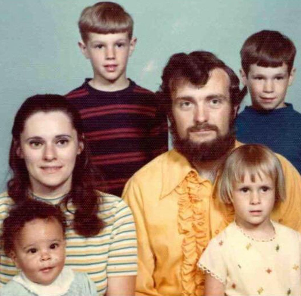 April Dinwoodie and her family are pictured in this photo.